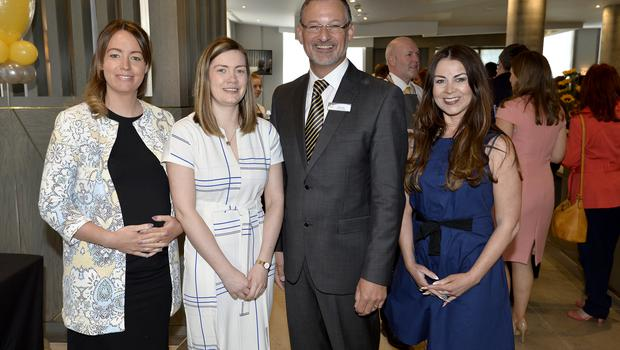 17th May 2018 Rachel OReilly,Janet McCusker,Mike Gatt  and Wendi Kane pictured at the Grand opening of the new Maldron Hotel in Brunswick street in Belfast  Mandatory Credit: Presseye/Stephen Hamilton