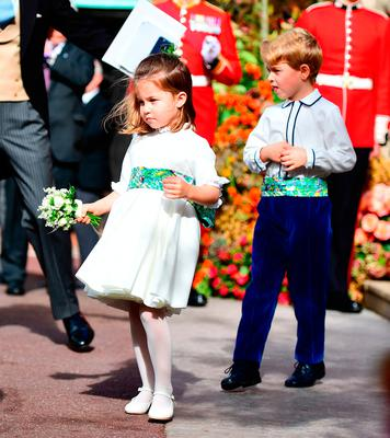 The bridesmaids and page boys, including Prince George and Princess Charlotte