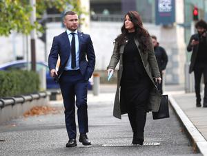 Former boxing world champion Carl Frampton and his wife Christine arrive at Belfast High court. PICTURE BY STEPHEN DAVISON
