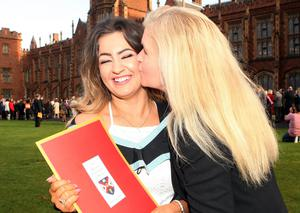 Graduations take place at Queens University in Belfast. Danielle McGurk and her mother Marie from Craigavon