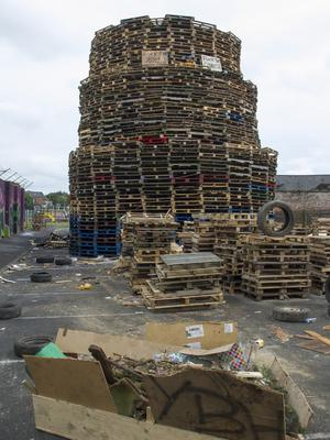 Belfast Telegraph  09-07-2017 Ravenscroft Avenue car park/Bloomfield walkway East Belfast Bonfire ath Ravenscroft Avenue car park/Bloomfield walkway has had an injunction by Belfast City Council  in place to stop wood from being dumped at the bonfire site and added to the bonfire.