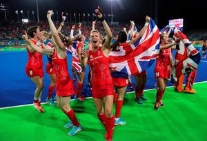 File photo dated 19/8/2016 of Great Britain players celebrate victory over Holland following the gold medal match at the Olympic Hockey Centre on the Fourteenth day of the Rio Olympics Games, Brazil. PRESS ASSOCIATION Photo. Issue date: Saturday August 20, 2016. See PA story SPORT Olympics. Photo credit should read: David Davies/PA Wire EDITORIAL USE ONLY