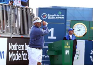 PACEMAKER BELFAST  05/07/2017 Wednesday is the PRO AM at the Dubai Duty Free Irish Open at Portstewart Golf Club. Local hero Darren Clarke tees off