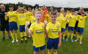 PressEye-Northern Ireland- 29th July  2019-Picture by Brian Little/PressEye Dungannon United celebrate a 2-0 victory against  Ballinamallard United in the Minor section of the STATSports SuperCupNI , at University, Coleraine. Picture by Brian Little/PressEye