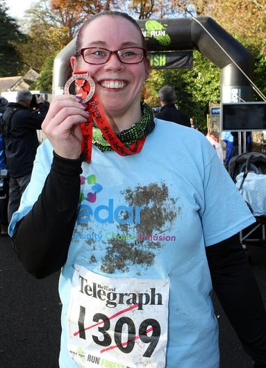 Mandatory Credit - Picture by Freddie Parkinson/Press Eye © Saturday 19th November 2016 Belfast Telegraph Run Forest Run Drum Manor Forest Park, Drum Road, Cookstown BT80 9RT Gillian Craig from Maghamourne has raised over £600 for her charity the Cedar Foundation.