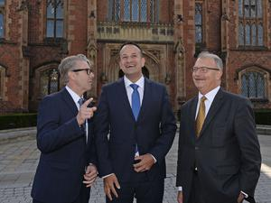 Pacemaker Press 4/8/17 Taoiseach  Leo Varadkar is welcomed by David Jones (acting Pro Vice Chancellor -left) and James McElnay (right)  at Queen's University, Belfast,  during his first official visit to Northern Ireland.  In the afternoon, he will hold meetings with political parties. Pic Colm Lenaghan/Pacemaker