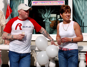 Johnny Adair with former wife Gina at their Shankill Road home