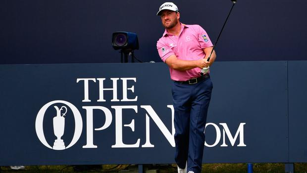 Northern Ireland's Graeme McDowell tees off from the first hole during a practice session at The 148th Open golf Championship at Royal Portrush golf club in Northern Ireland on July 16, 2019. (Photo by Paul ELLIS / AFP) / RESTRICTED TO EDITORIAL USEPAUL ELLIS/AFP/Getty Images