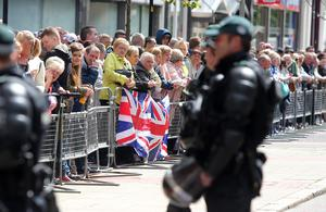 There was a heavy police presence in Belfast city centre ahead of the parade and loyalist protests. Pic: Jonathan Porter/Presseye.