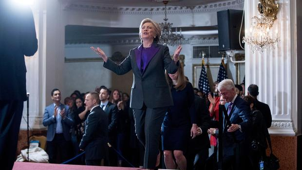 Hillary Clinton arrives to speak to staff and supporters at the New Yorker Hotel in New York, Wednesday, Nov. 9, 2016, where she conceded her defeat to Republican Donald Trump after the hard-fought U.S. presidential election. (AP Photo/Andrew Harnik)