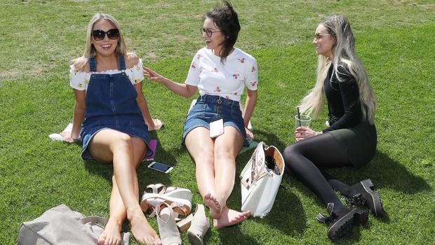 Press Eye - Weather Pictures - 25th May 2018 Photograph by Declan Roughan  (L-R) Clare Quinn from Cookstown Lorna Loughran from Newry and Kiera O'Neill from Lurgan enjoying the weather at Botanic Gardens, Belfast