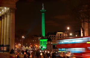 Nelson's Column in Trafalgar Square, London is lit green by Tourism Ireland in celebration ahead of St Patrick's Day. Matt Alexander/PA Wire .