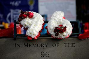 SHEFFIELD, ENGLAND - APRIL 26:  Tributes are placed at Sheffield Wednesday's Hillsborough stadium on April 26, 2016 in Sheffield, England. The fresh inquests into the 1989 Hillsborough disaster, in which 96 football supporters were crushed to death, concluded on April 26, 2016 with a verdict of unlawful killing, after the initial verdicts were quashed. Relatives of Liverpool supporters who died in Britain's worst sporting disaster gathered in the purpose-built court to hear the jury's verdict in Warrington after a 25 year fight to overturn the accidental death verdicts handed down at the initial 1991 inquiry.  (Photo by Matthew Lloyd/Getty Images)