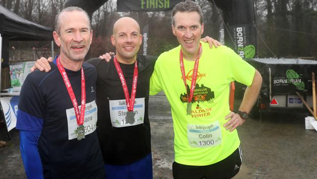 Press Eye - Belfast Telegraph - Run Forest Run Series - Loughgall Forest Park - 1st December 2018 Photograph by Declan Roughan  (L-R) Mens 10k, 2nd place Shane McCusker, 1st Stephen Dixon and 3rd place Colin McDowell.