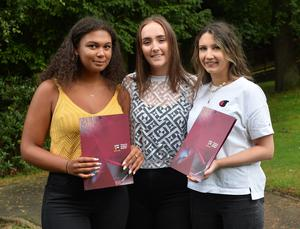 Pacemaker Press 30/07/2019 Students From L-R  Saffron Karbo,  Amy McKillen and Erin Anderson    at Victoria College in Belfast receive get their results on Thursday Morning. About 28,00 students their A Level and AS results across N Ireland with  over  30 per cent  of entries were awards A* or A grades. Pic Colm Lenaghan /Pacemaker