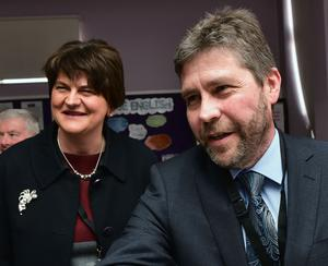 Quinn's Director Kevin Lunney and First Minster Arlene Foster at the launch of the new Strategic Business Insights Partnership between Quinn Industrial Holdings and St. Aidan's High School in Derrylin on Friday. Credit: Colm Lenaghan/Pacemaker
