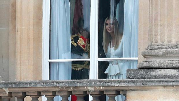 Ivanka Trump looks out of the window at Buckingham Palace during the visit of US President Donald Trump and First Lady Melania Trump on June 03, 2019 in London, England.