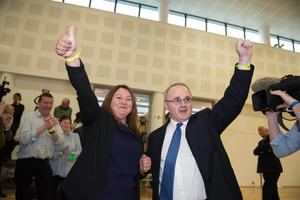 NI Assembly Election 2017 Count at Omagh Leisure Complex for West Tyrone and Fermanagh & South Tyrone constituencies. Michaela Boyle, Sinn Féin and Barry McElduff, Sinn Féin pictured after the election results for West Tyrone. Picture by Trevor Lucy / Press Eye.