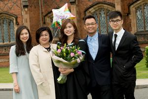 Jessie Goh from Malaysia graduated from the School of Pharmacy at Queen's University Belfast. Jessie was joined by her mum Annie Chai, dad Kok Chin Goh, sister Yiling and brother Douglas who travelled from Malaysia for the graduation celebrations. Queen's University Belfast is 2nd in UK for Pharmacology and Pharmacy.