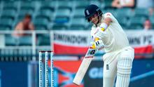 Power hit: England captain Joe Root goes on the attack against South Africa