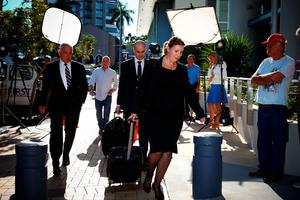 The legal team acting for US actor Johnny Depp and his wife Amber Heard arrives at a court in the Gold Coast on April 18, 2016.  Depp and his wife Amber Heard arrived at an Australian court April 18 over Heard's alleged illegal importation of their two Yorkshire terrier dogs Boo and Pistol into the country in a private jet in 2015, as Depp was in Australia for the filming of the latest Pirates of the Carribean movie.    / AFP PHOTO / Patrick HAMILTONPATRICK HAMILTON/AFP/Getty Images