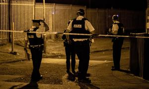 Police and forensic officers at the scene of a shooting incident in the Cyprus Place, Carrickfergus on July 26th 2020 (Photo by Kevin Scott for Belfast Telegraph)