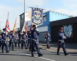 Pacemaker Press 12/7/2017 A feeder Parade passes the Ardoyne Shops on North Belfast , The 12th of July Parade passed threw peacefully with no Protests. Pic Colm Lenaghan/Pacemaker