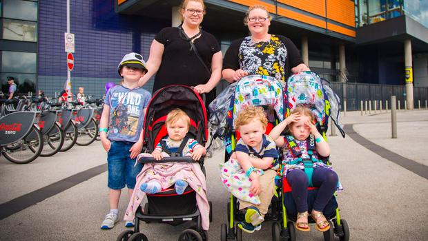 Joanne Dougherty, her children are Bella the other lady was Mary Dripps, mum to William, Matthew and Jacob.  The maritime festival begins in Belfast on June 16th 2017 (Photo by Kevin Scott / Belfast Telegraph)