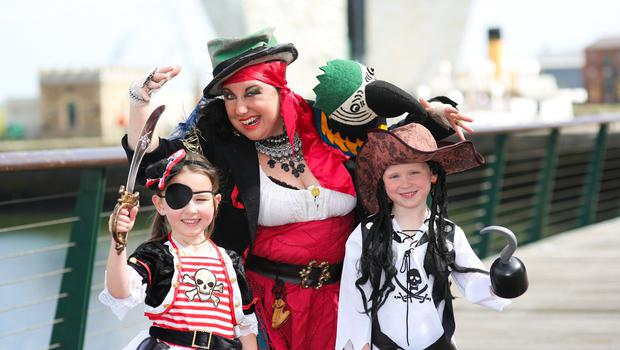Looking forward to fun at Belfast's Titanic Maritime Festival on the weekend of Friday 16 - Sunday 19 June are pirates Christina Nelson (centre) and her cohorts Saskia Harkley and Zach McGrath. Get on board for the event at Queen's Quay and Titanic Quarter with more information at www.belfastcity.gov.uk/maritime