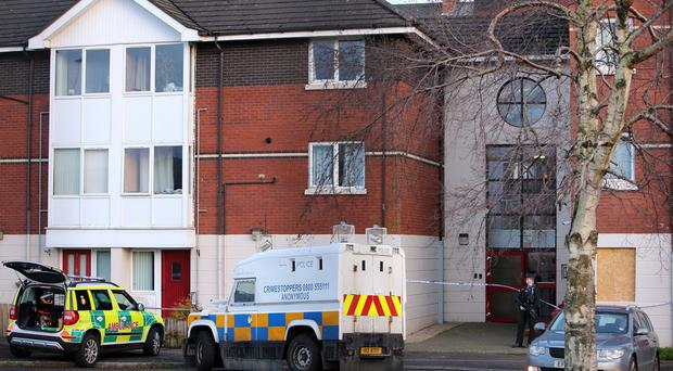 The scene at Kinnaird Close off Duncairn Avenue on Monday. Pic Pacemaker Press