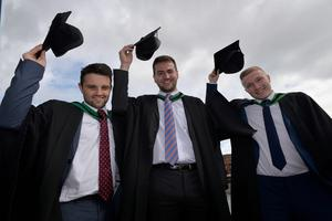 HARRISON PHOTOGRAPHY - BELFAST - 1st July 2016 Graduating from Ulster University today with a degree in Engineering and Design are Declan Murray, Andrew Rigby and Kyle Johnston
