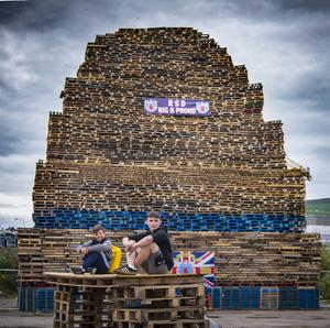 General views of the square shaped bonfire on Milner Street in South Belfast on July 10th 2017 (Photo by Kevin Scott / Belfast Telegraph)