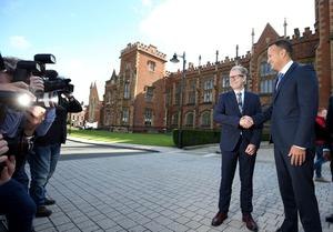 Press Eye - Belfast - Northern Ireland - 4th August 2017   The Irish Taoiseach (prime minister) Leo Varadkar, TD,  is met by Queen's University Belfast Pro-Vice-Chancellor  Professor David Jones as he arrives at Queens University, Belfast Northern Ireland to deliver speech on The Future of Relationships between Northern Ireland and Southern Ireland.  On Saturday, Mr Varadkar, who is the Republic of Ireland's first openly gay taoiseach, will attend a breakfast event as part of Belfast's gay pride festival.  Photo by Matt Mackey / Press Eye.