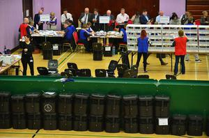 Pacemaker Press Belfast 06-05-2016: NI Assembly election: East & South Antrim count at Vally Leisure Centre Glengormley. The process of counting votes in the Northern Ireland Assembly election has begun. Two hundred and seventy-six candidates are competing for 108 seats across Northern Ireland's 18 constituencies. The votes first have to be verified - checking that the same number of papers are inside the ballot boxes as those given out by polling station staff. Picture By: Arthur Allison.