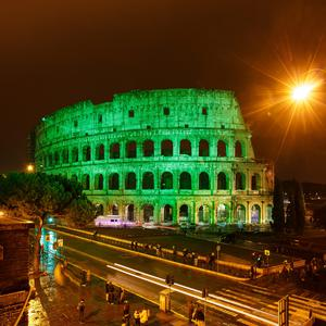 The Colosseum in Rome joins Tourism Ireland's Global Greening, to celebrate the island of Ireland and St Patrick.