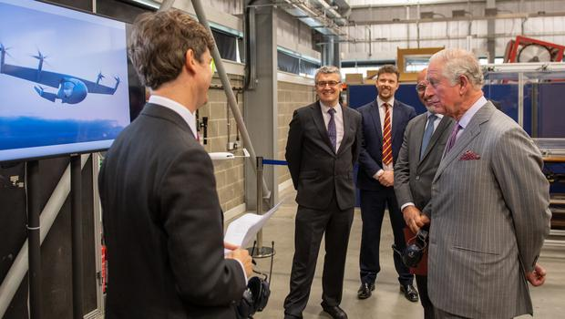 Charles during a visit to the Whittle Laboratory (Joe Giddens/PA)