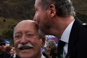 Campaigners Larry Lamont (left) and Jerry Slaterduring a rally outside the Scottish Parliament