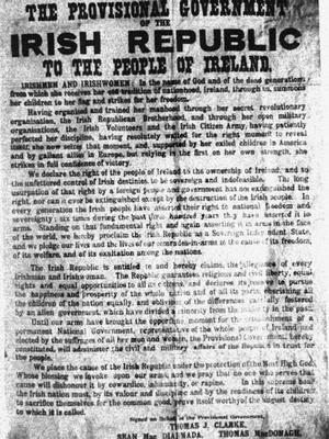 File photo dated 24/04/1916 of a poster issued by members of Sinn Fein proclaiming the creation of an Irish Republic. PA