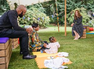 Kate during a socially distanced chat with families who took part in a pilot of the project (BBC/PA)