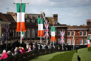 Irish tricolour and Union flags fly in Windsor as Queen Elizabeth II welcomes President of Ireland Michael D Higgins on April 8, 2014 in England. This is the first official visit by the head of state of the Irish Republic to the United Kingdom.  (Photo by Peter Macdiarmid/Getty Images)