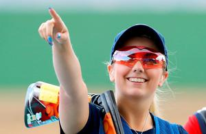 Great Britain's Amber Hill competes in the Skeet Women's Semifinals at The Shooting Centre on the seventh day of the Rio Olympic Games, Brazil. Picture date: Friday August 12, 2016. Photo credit should read: Owen Humphreys/PA Wire. RESTRICTIONS - Editorial Use Only.