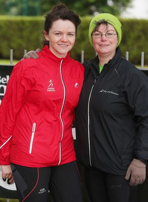 Northern Ireland- 23rd May 2014 Mandatory Credit - Photo-Jonathan Porter/Presseye.  Belfast Telegraph RunHer 10k coastal challenge from Seapark to Crawfordsburn.  Left to right.  Laura Cushnahan from Sperrin Harriers and Barbara Mckeever from Up and Runners  at Seapark before the race.