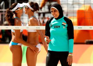 Doaa Elghobashy of Egypt reacts during the Women's Beach Volleyball Preliminary Pool A match against Marta Menegatti and Viktoria Orsi Toth of Italy on Day 4 of the Rio 2016 Olympic Games at the Beach Volleyball Arena on August 9, 2016 in Rio de Janeiro, Brazil.  (Photo by Ezra Shaw/Getty Images)