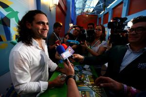 COSTA DO SAUIPE, BAHIA - DECEMBER 05:  Former Argentina footballer Juan Pablo Sorin speaks to members of the media ahead of the 2014 FIFA World Cup Draw at Costa do Sauipe Resort on December 5, 2013 in Costa do Sauipe, Brazil.  (Photo by Buda Mendes/Getty Images)