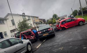 Six-vehicle road traffic collision on the Clarkhill Road, Castlewellan, on Tuesday evening (14 July). Pic: Caroline Overend