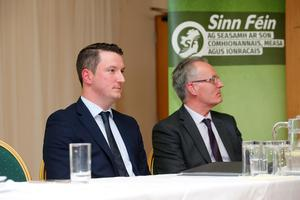 John Finucane pictured with Gerry Kelly at the Sinn Féin North Belfast Selection Convention at the Lansdowne Hotel. Photo by Kelvin Boyes / Press Eye.