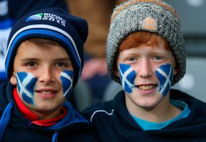 NEWCASTLE UPON TYNE, ENGLAND - OCTOBER 03: Scotland fans show their colours  during the 2015 Rugby World Cup Pool B match between South Africa and Scotland at St James' Park on October 3, 2015 in Newcastle upon Tyne, United Kingdom.  (Photo by Alex Livesey/Getty Images)