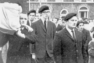 1973: Gerry Adams (centre) in the guards of honour at the funeral of an IRA member.
