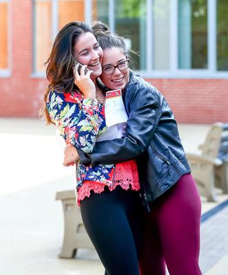 Picture - Kevin Scott / Belfast Telegraph  Belfast - Northern Ireland - Thursday 13th August 2015 - A Level Results Day   Pictured is Natalie Magill and Kiera Donnelly during A level results day at Lagan Collage  Picture - Kevin Scott / Belfast Telegraph