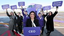 Flybe's new Chief Executive Officer Christine Ourmieres-Widener celebrates International Women's Day in Belfast City Airport with an all female team including Board Member Liz McMeikin and NI General Manager Andrea Hayes